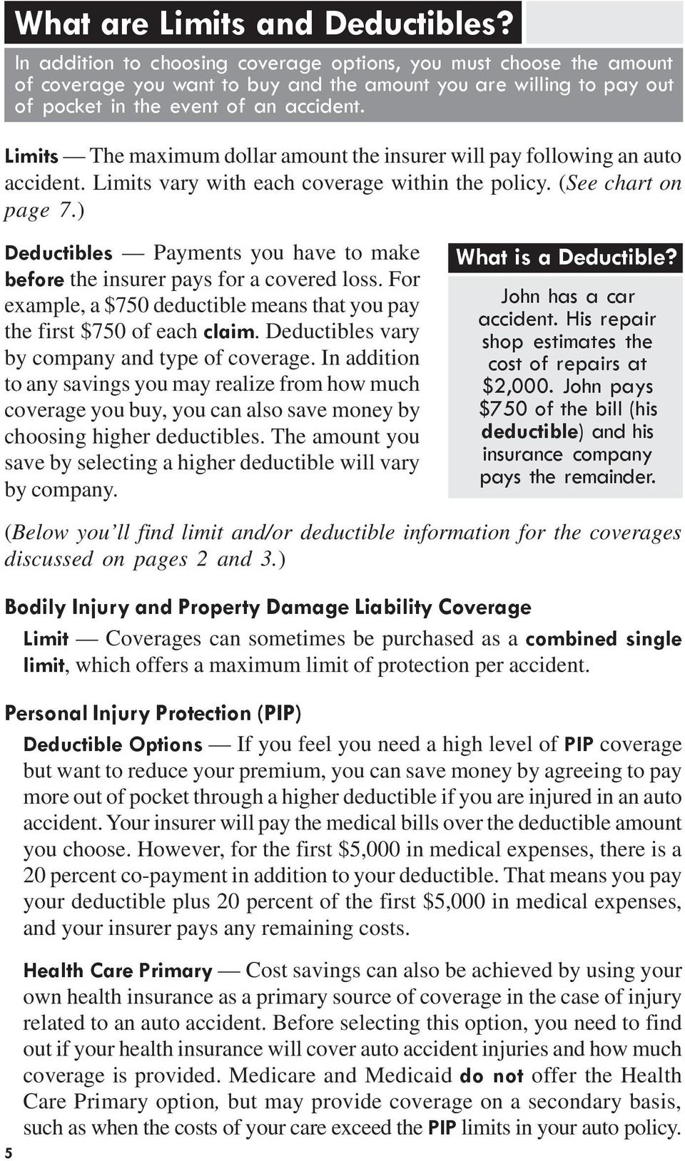 Limits The maximum dollar amount the insurer will pay following an auto accident. Limits vary with each coverage within the policy. (See chart on page 7.