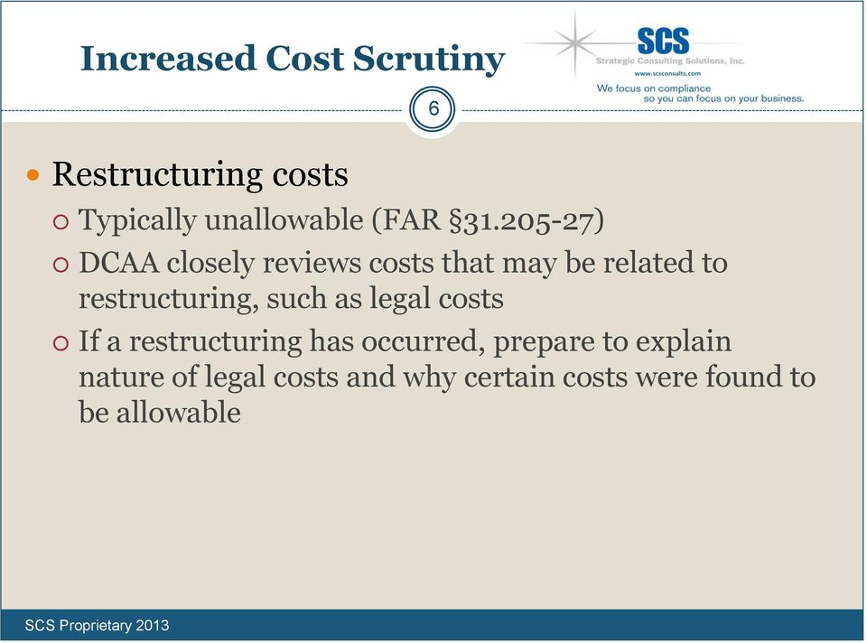 restructuring, such as legal costs If a restructuring has occurred,
