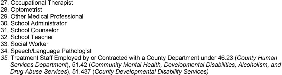 Treatment Staff Employed by or Contracted with a County Department under 46.