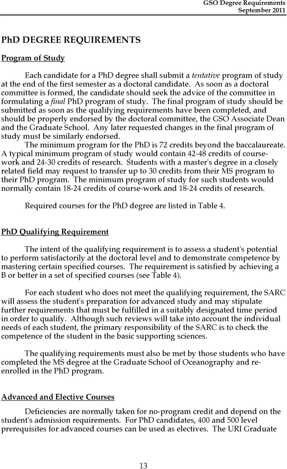 The final program of study should be submitted as soon as the qualifying requirements have been completed, and should be properly endorsed by the doctoral committee, the GSO Associate Dean and the