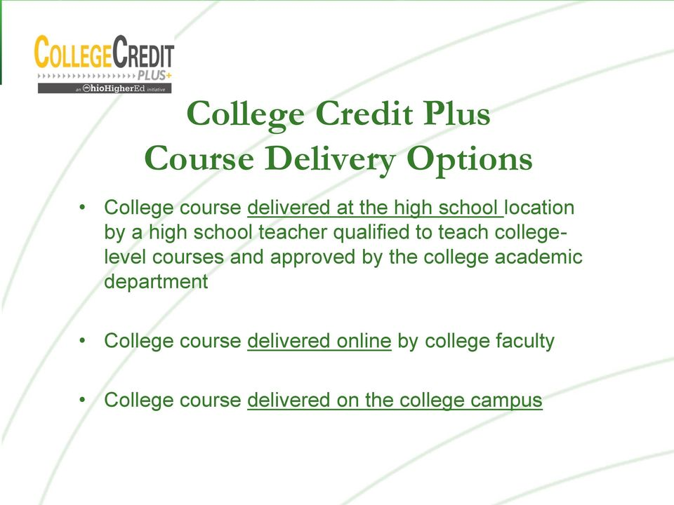 collegelevel courses and approved by the college academic department College