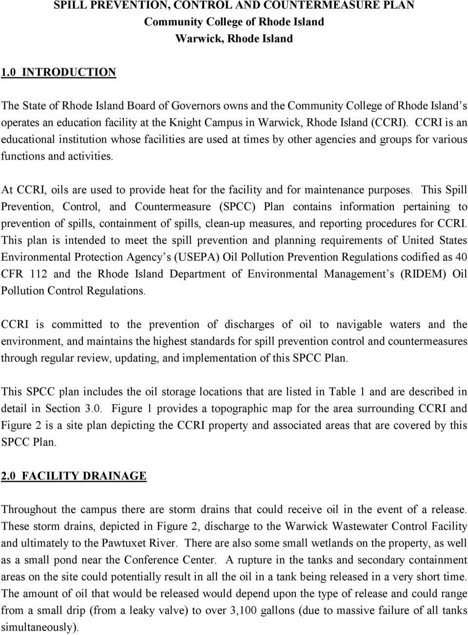 Spill Prevention Control And Countermeasure Plan Community College