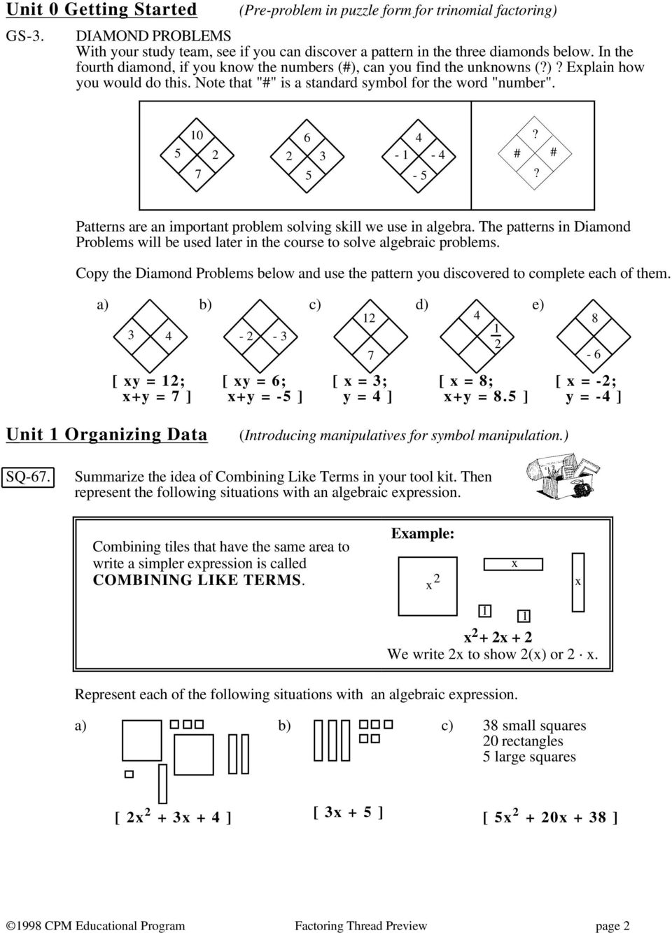 - - 4 # # - 5? Patterns are an important problem solving skill we use in algebra. The patterns in Diamond Problems will be used later in the course to solve algebraic problems.