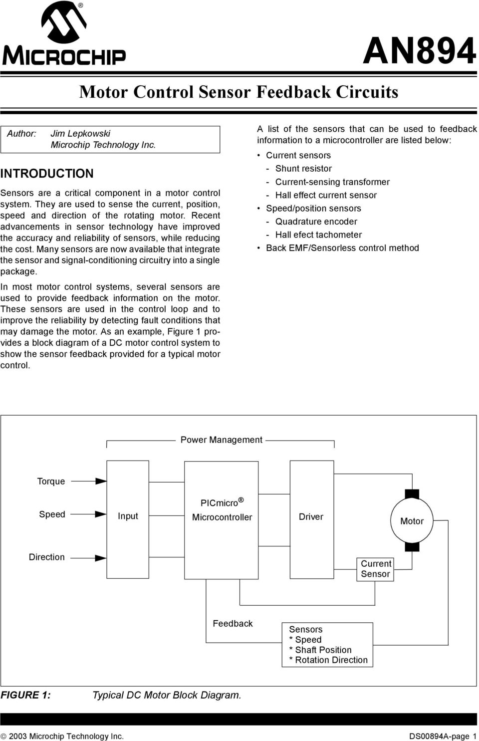 motor control sensor feedback circuits power management picmicrorecent advancements in sensor technology have improved the accuracy and reliability of sensors, while reducing