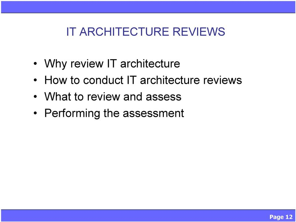 architecture reviews What to review
