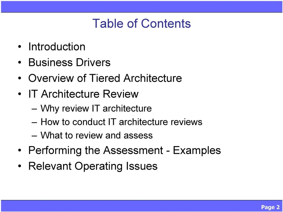 architecture How to conduct IT architecture reviews What to