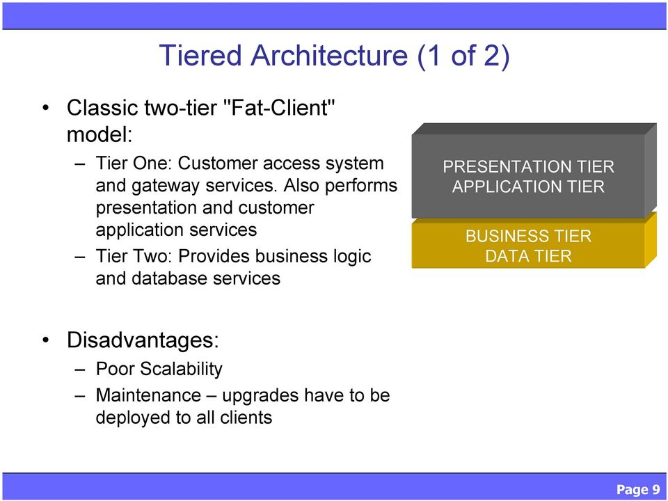 Also performs presentation and customer application services Tier Two: Provides business logic