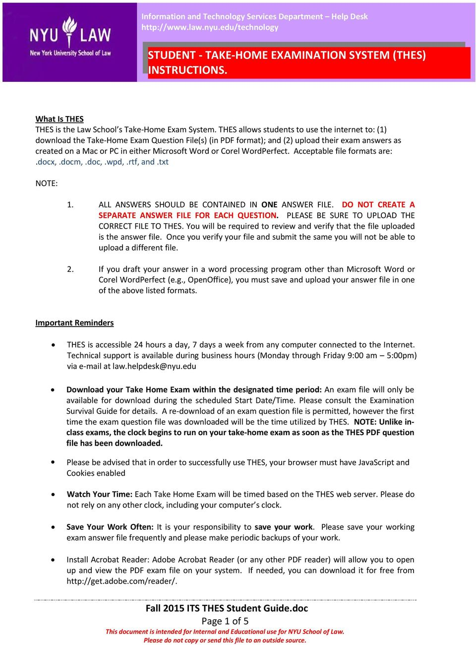 STUDENT TAKE HOME EXAMINATION SYSTEM (THES) INSTRUCTIONS  - PDF