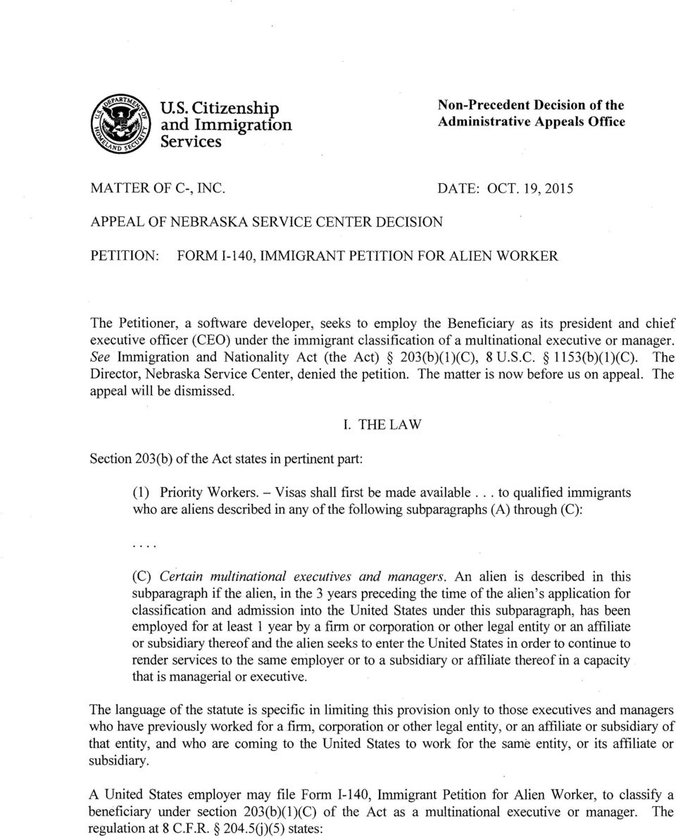 FORM I-140, IMMIGRANT PETITION FOR ALIEN WORKER - PDF