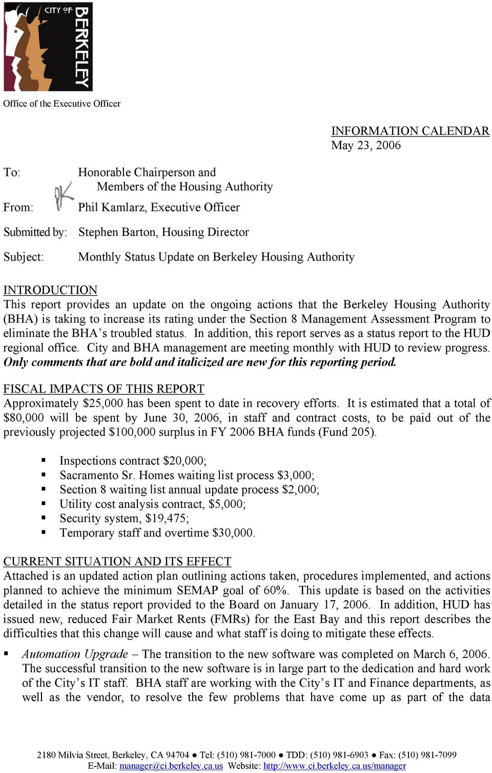 Monthly Status Update on Berkeley Housing Authority - PDF