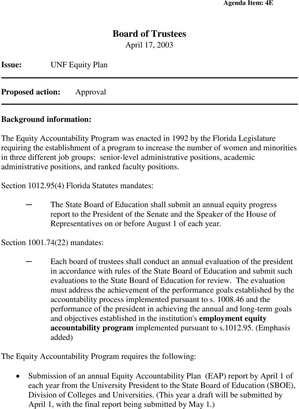 positions, and ranked faculty positions. Section 1012.