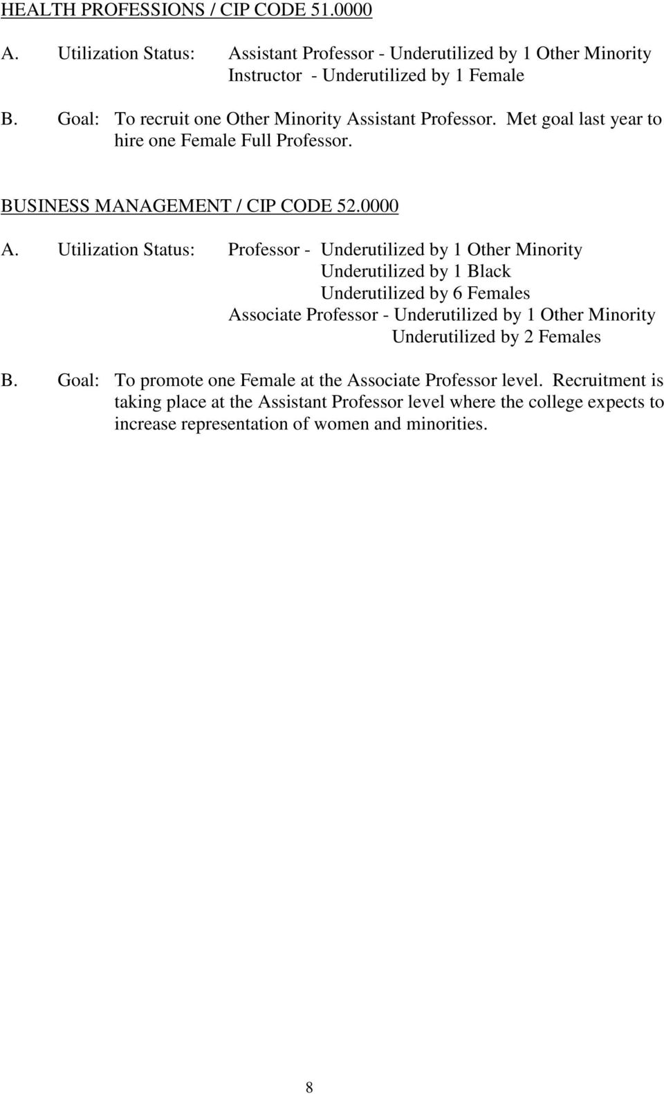 Utilization Status: Professor - Underutilized by 1 Other Minority Underutilized by 1 Black Underutilized by 6 Females Associate Professor - Underutilized by 1 Other Minority