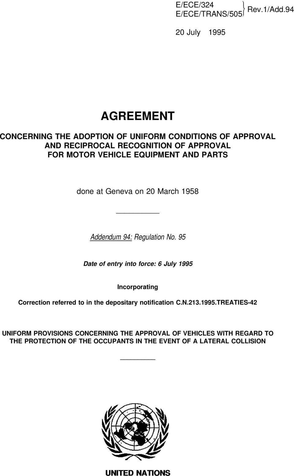 Agreement Concerning The Adoption Of Uniform Conditions Of Approval