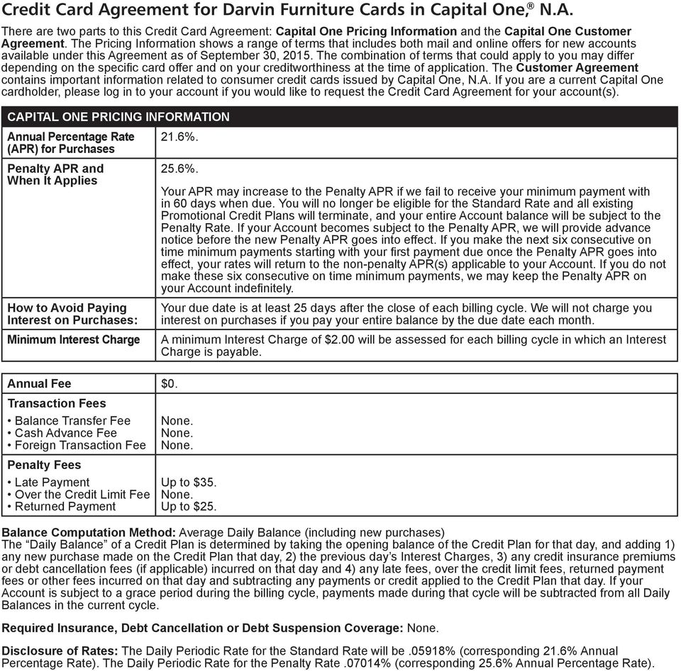 Credit Card Agreement For Darvin Furniture Cards In Capital One