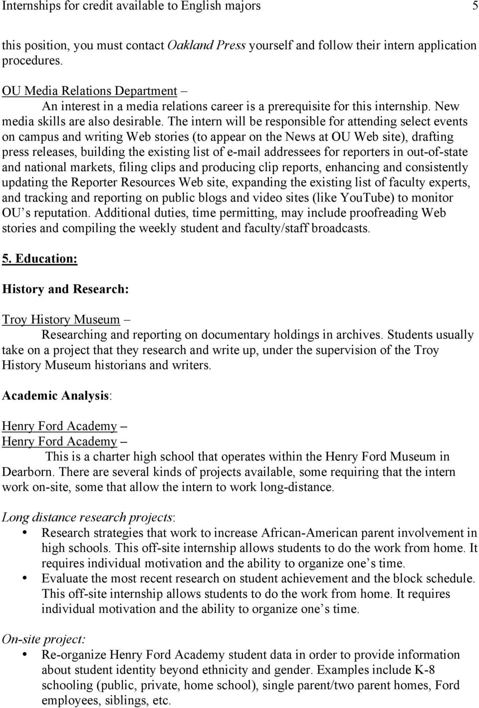 Internships for credit available to English majors 2 - PDF