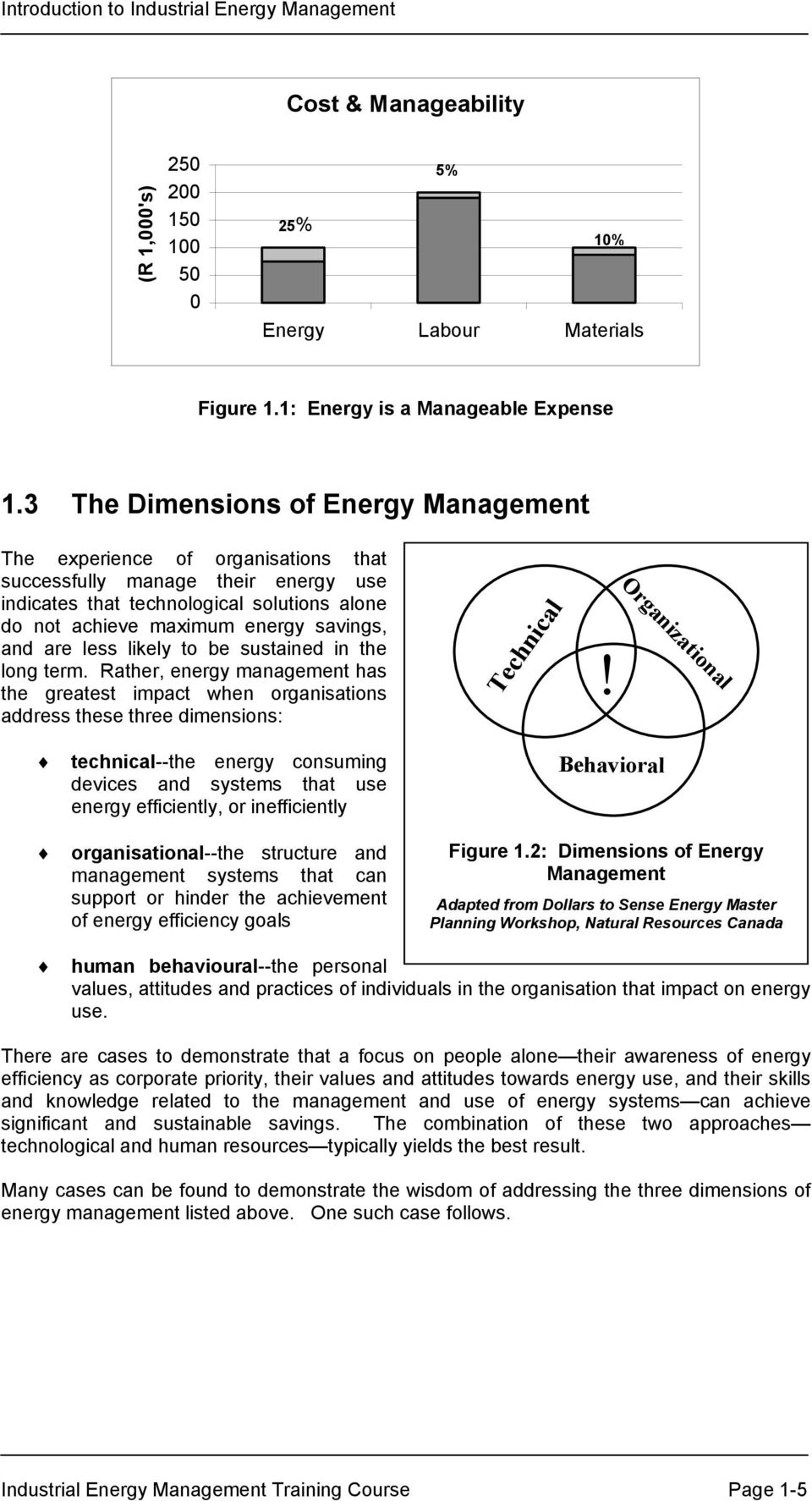 are less likely to be sustained in the long term. Rather, energy management has the greatest impact when organisations address these three dimensions: Technical!