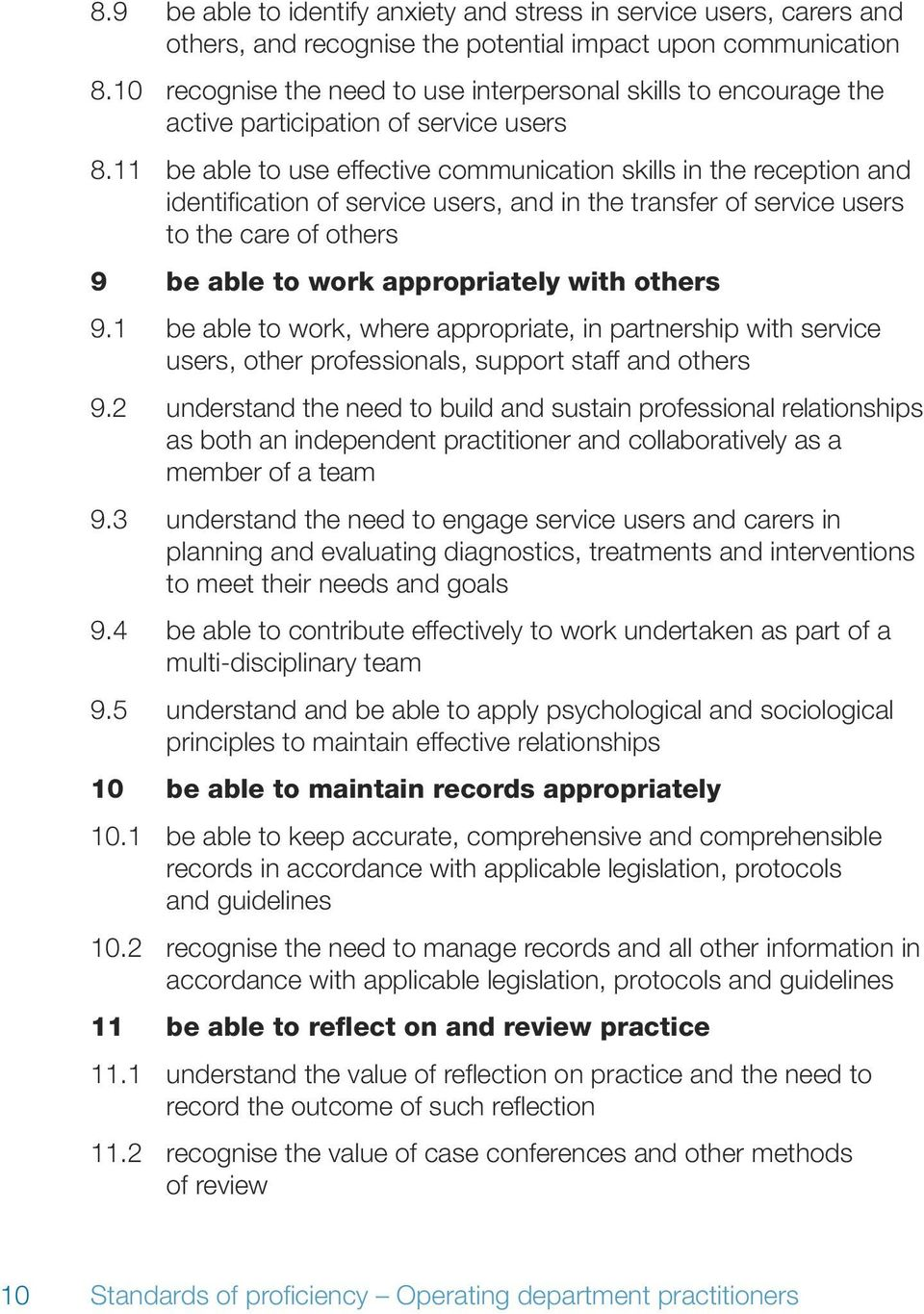 11 be able to use effective communication skills in the reception and identification of service users, and in the transfer of service users to the care of others 9 be able to work appropriately with
