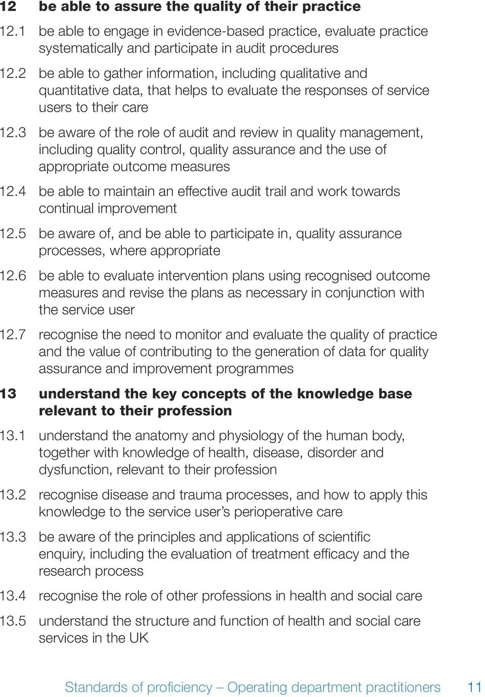 3 be aware of the role of audit and review in quality management, including quality control, quality assurance and the use of appropriate outcome measures 12.