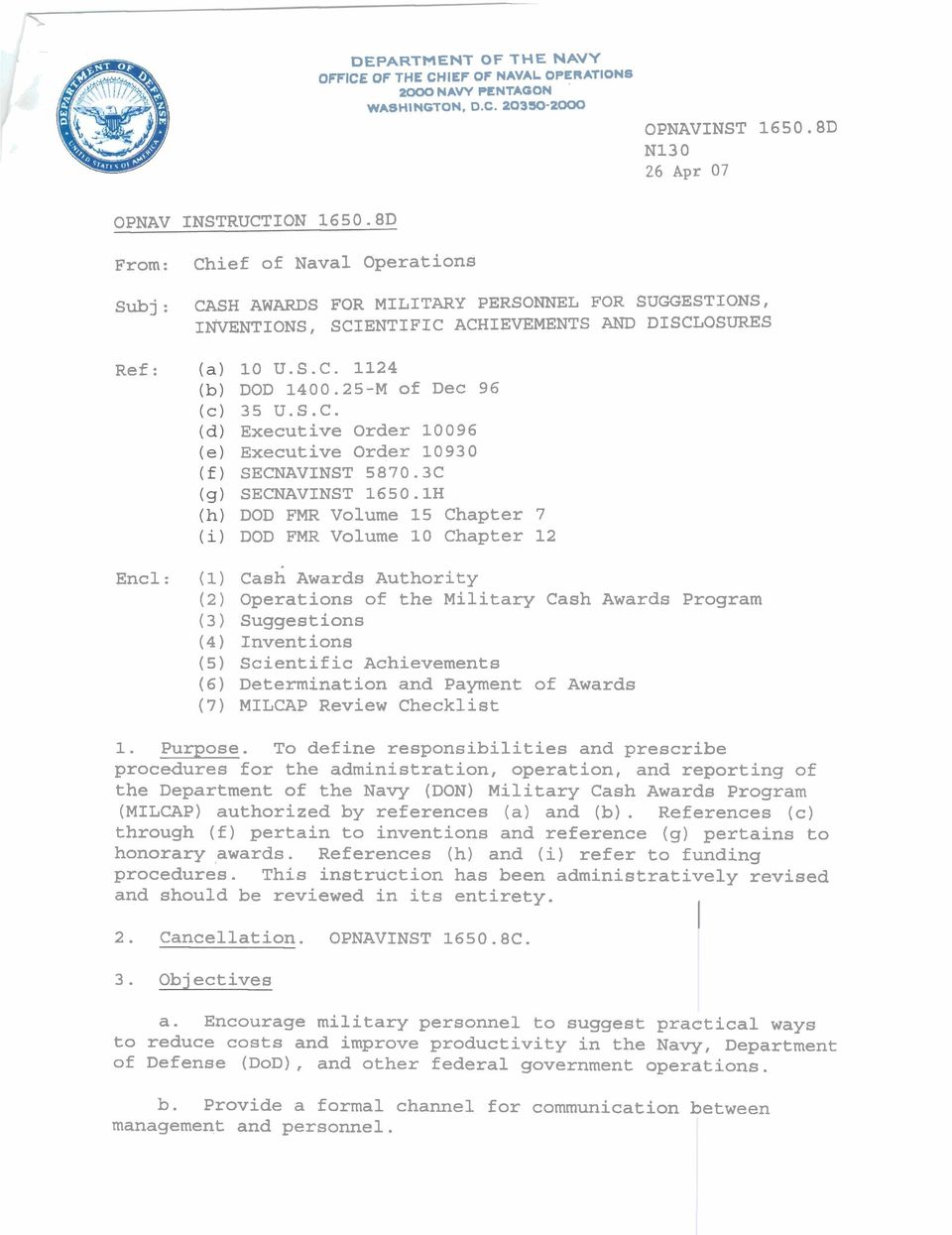 Opnav Instruction D From Chief Of Naval Operations Pdf