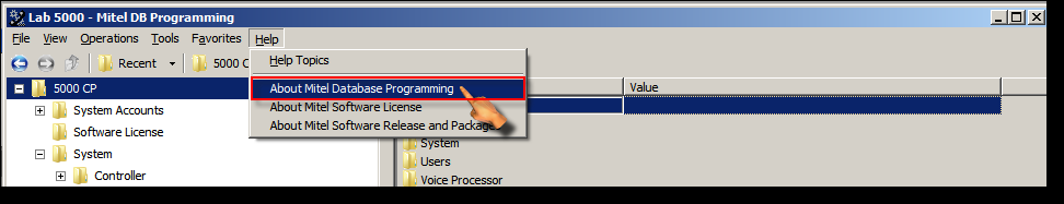The Mitel DB Programming window is now displayed. This is shown in the screen capture image below.