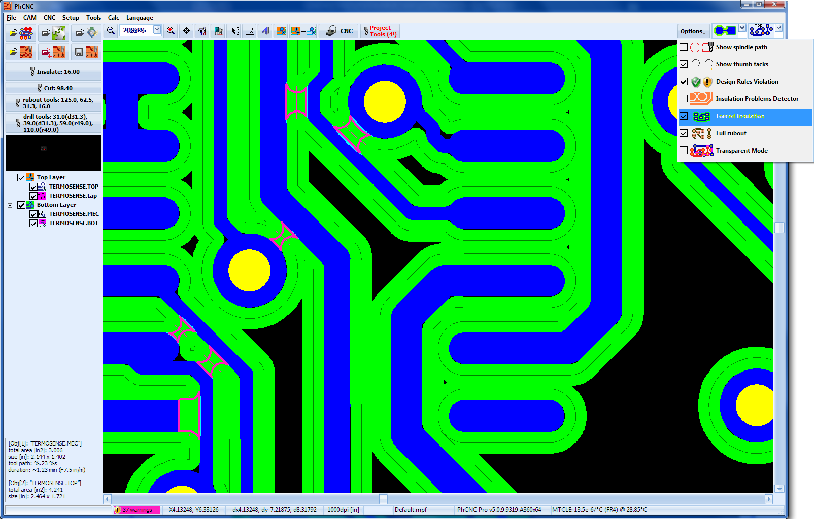 pcb prototyping software v (phcnc \u0026 phcnc pro) , telenet ltd userlight blue (default) strips shows additional copper removed from the design features when zoomed