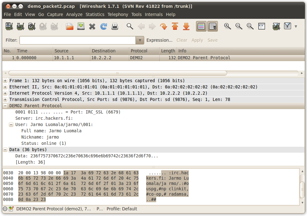 A TOOL FOR GENERATING PROTOCOL DISSECTORS FOR WIRESHARK IN