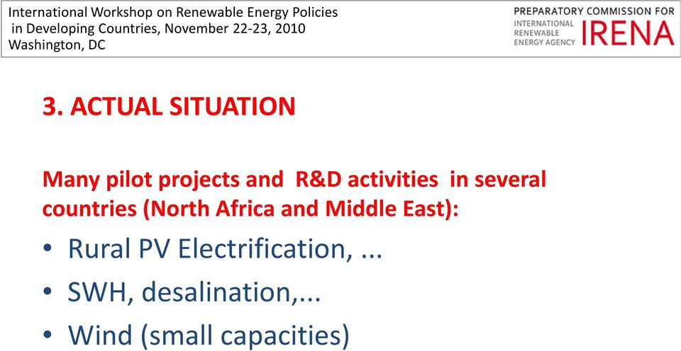 Africa and Middle East): Rural PV