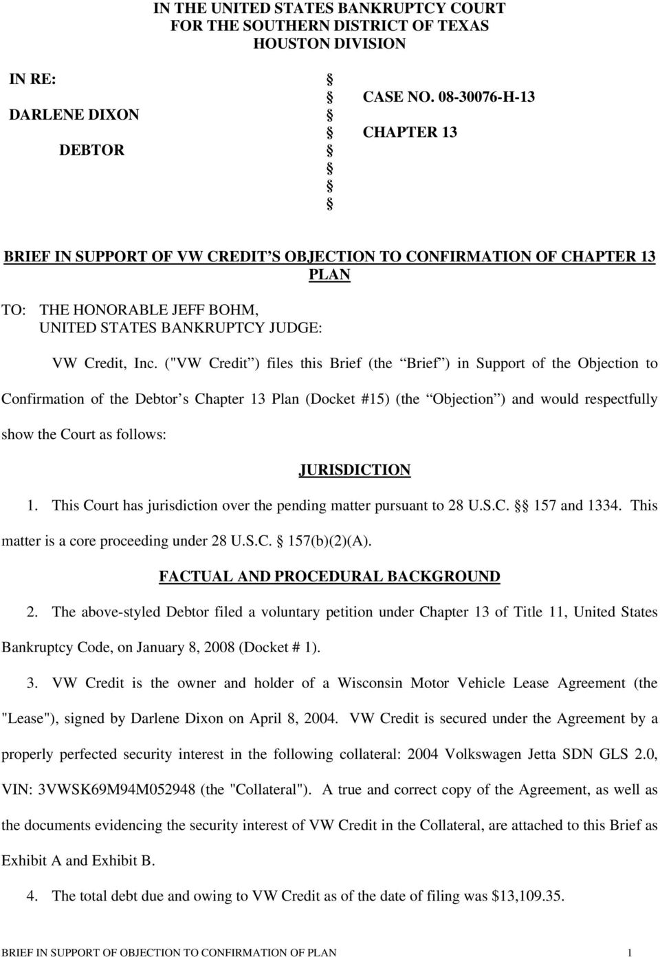 In The United States Bankruptcy Court For The Southern District Of