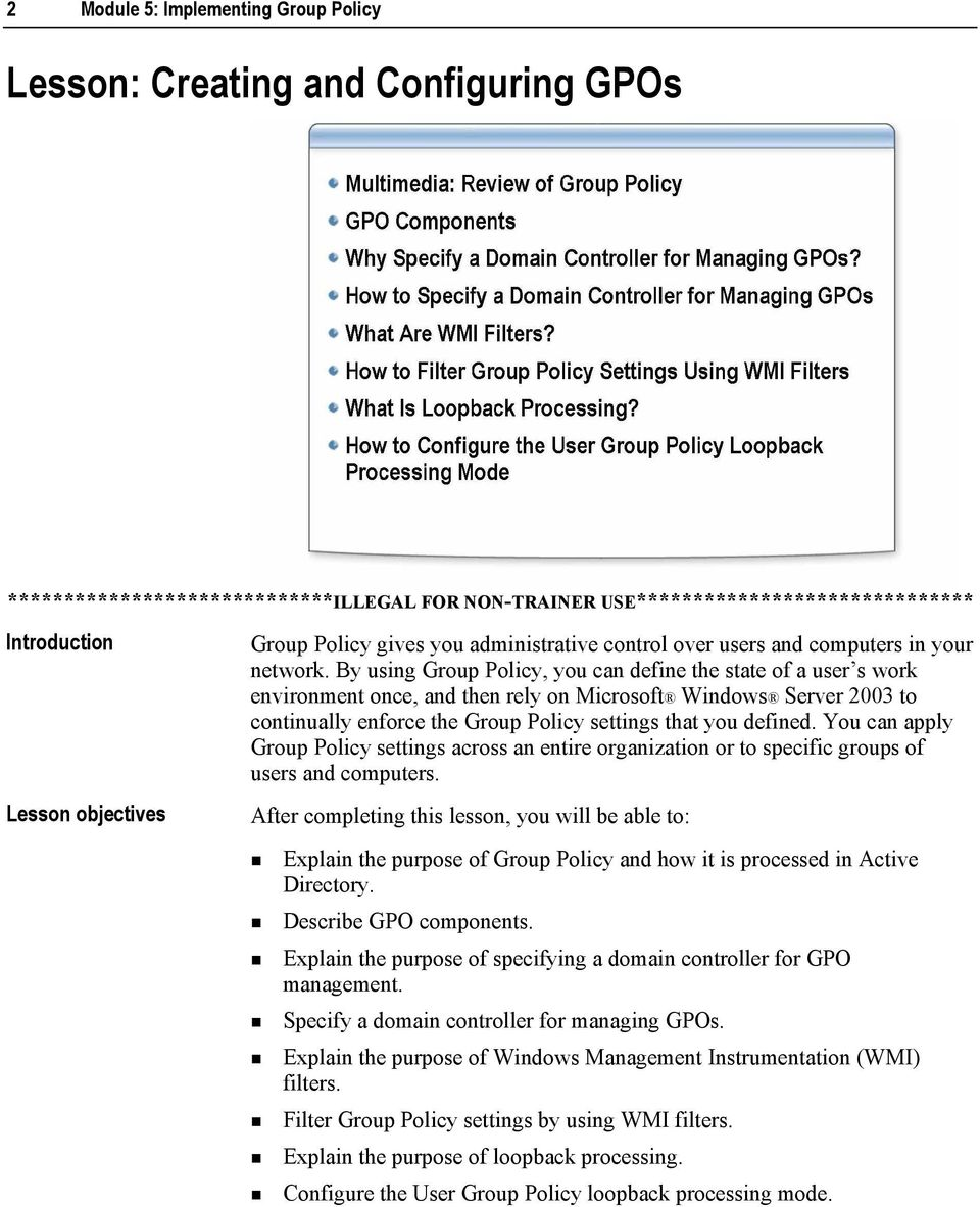 Module 5: Implementing Group Policy - PDF