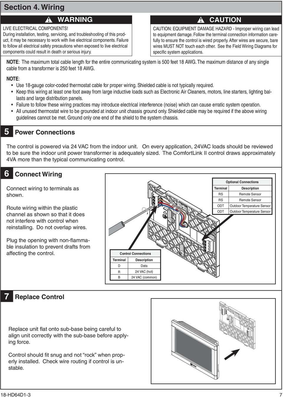 Comfortlink Ii Installation Guide 3 Zone Panel Optional 4 Electrical Connections And Wiring Suggested Diagram With Safety Caution Equipment Damage Hazard Improper Can Lead To