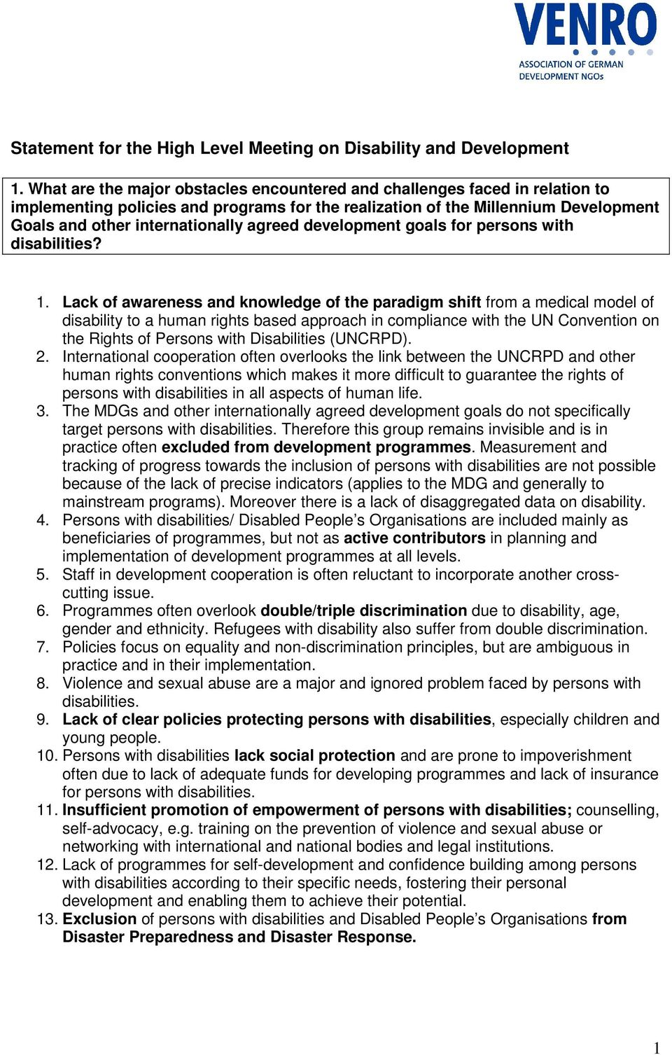 agreed development goals for persons with disabilities? 1.