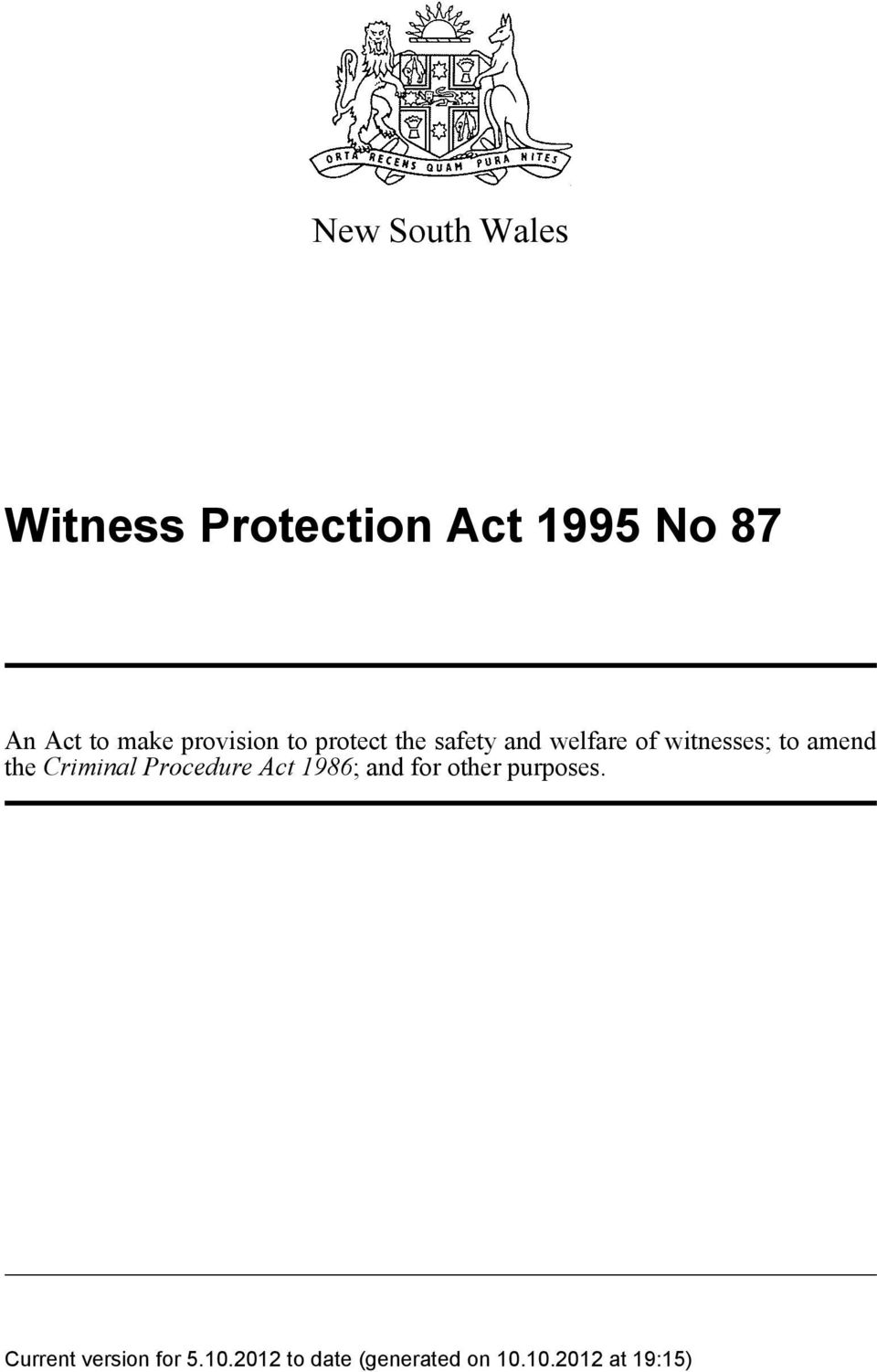 safety and welfare of witnesses; to amend the
