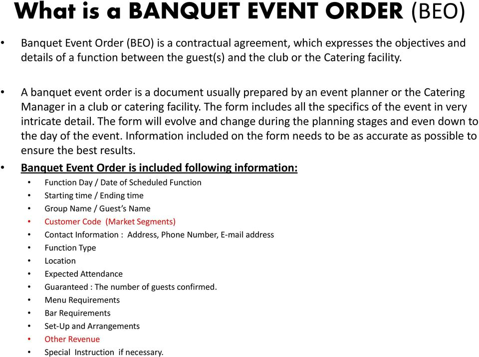 Banquet Event Order Beo Approving Beos Distribution Of Beos