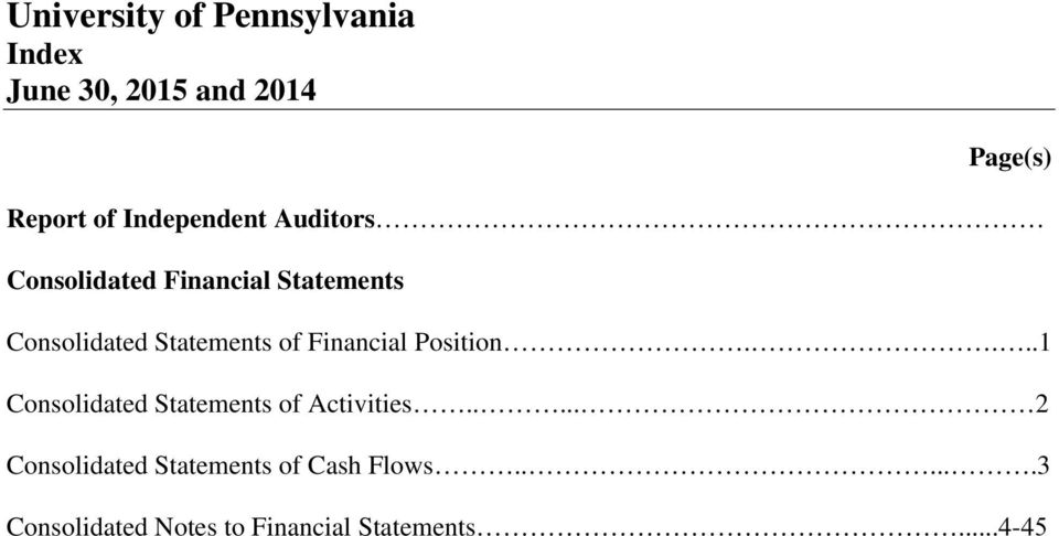 of Financial Position....1 Consolidated Statements of Activities.