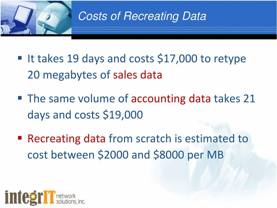 accounting data takes 21 days and costs $19,000 Recreating