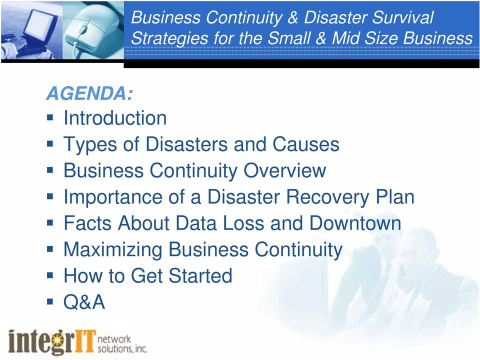 Business Continuity Overview Importance of a Disaster Recovery Plan