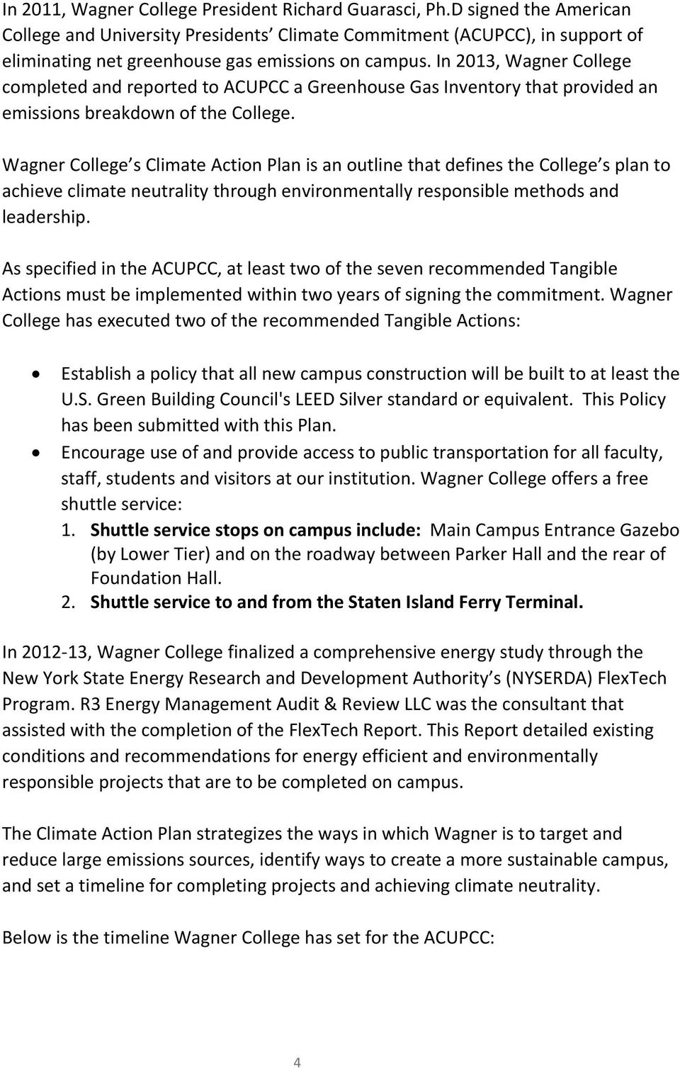 Wagner College Climate Action Plan: Goal of Carbon Neutral