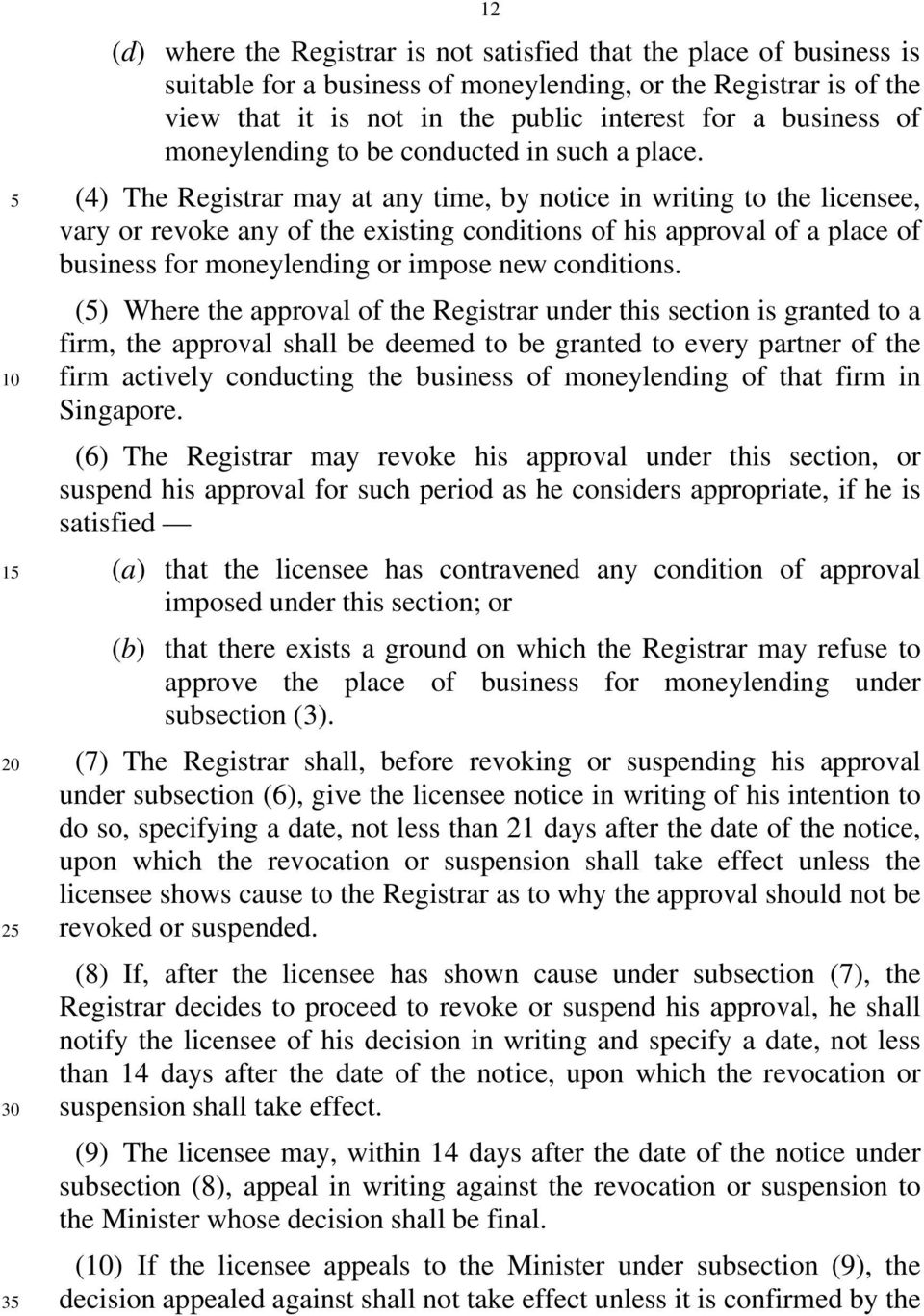 (4) The Registrar may at any time, by notice in writing to the licensee, vary or revoke any of the existing conditions of his approval of a place of business for moneylending or impose new conditions.