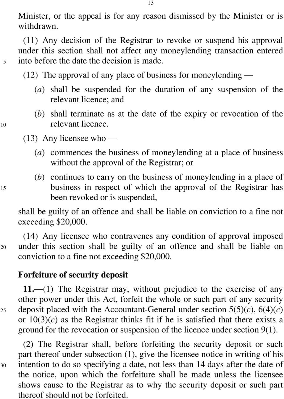 (12) The approval of any place of business for moneylending (a) shall be suspended for the duration of any suspension of the relevant licence; and (b) shall terminate as at the date of the expiry or