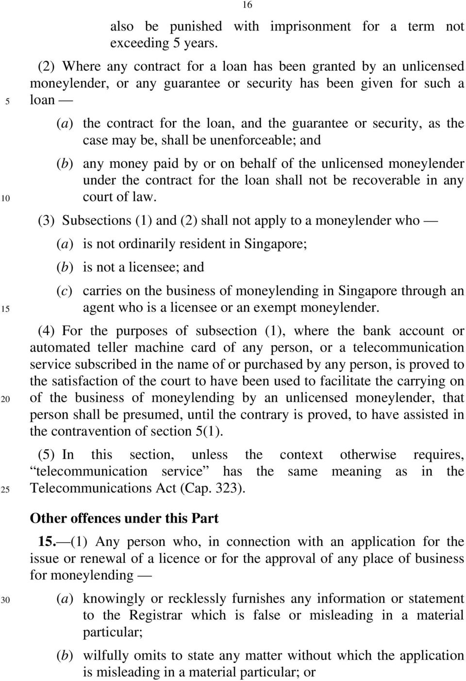 security, as the case may be, shall be unenforceable; and (b) any money paid by or on behalf of the unlicensed moneylender under the contract for the loan shall not be recoverable in any court of law.