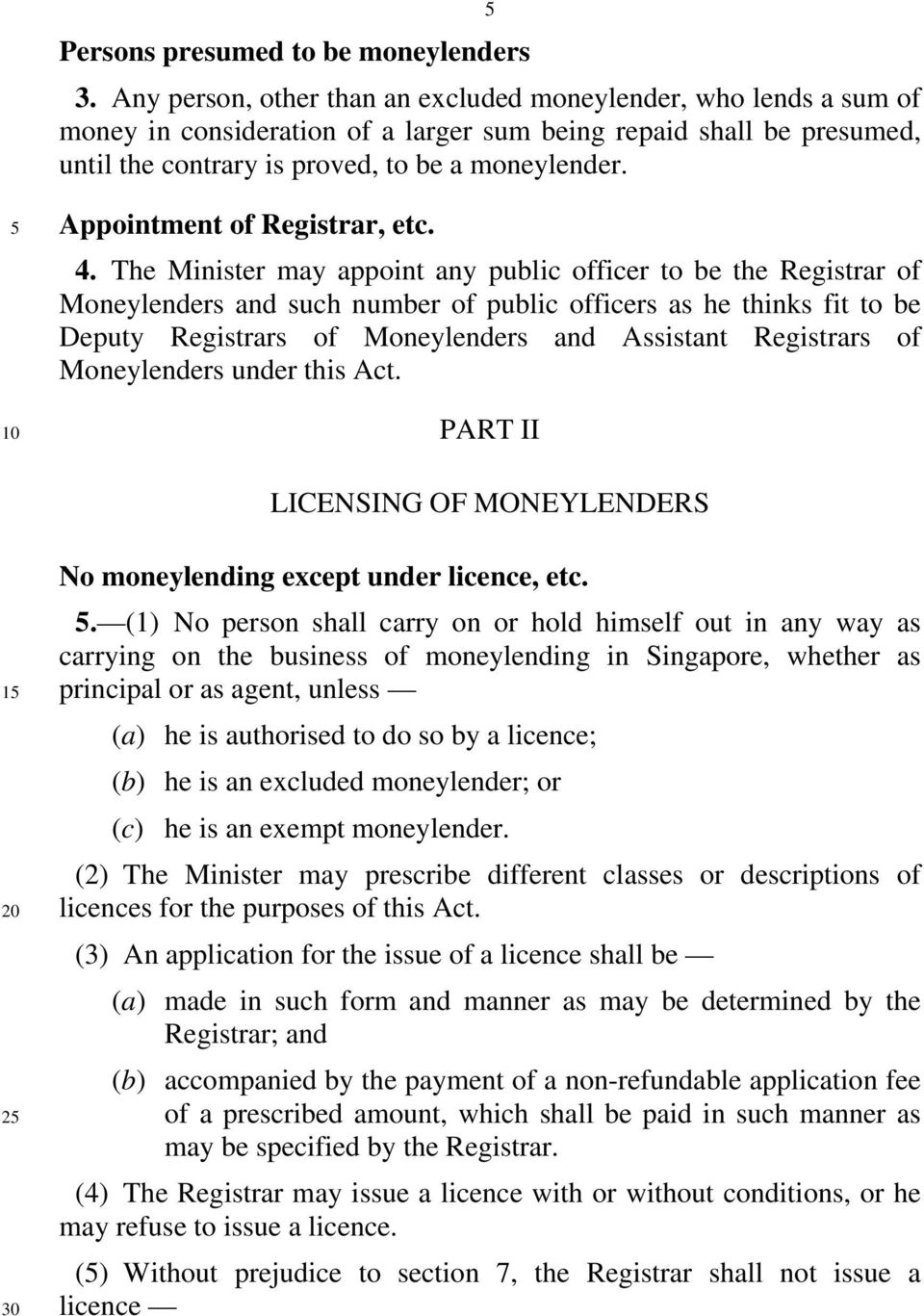 5 Appointment of Registrar, etc. 4.
