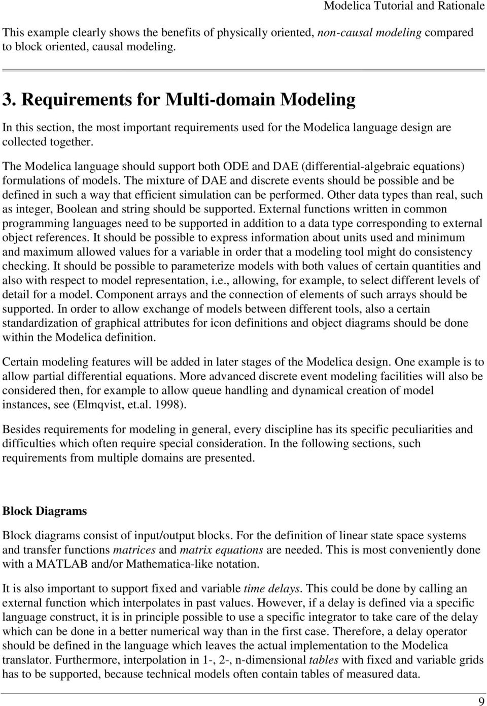 Modelica TM - A Unified Object-Oriented Language for