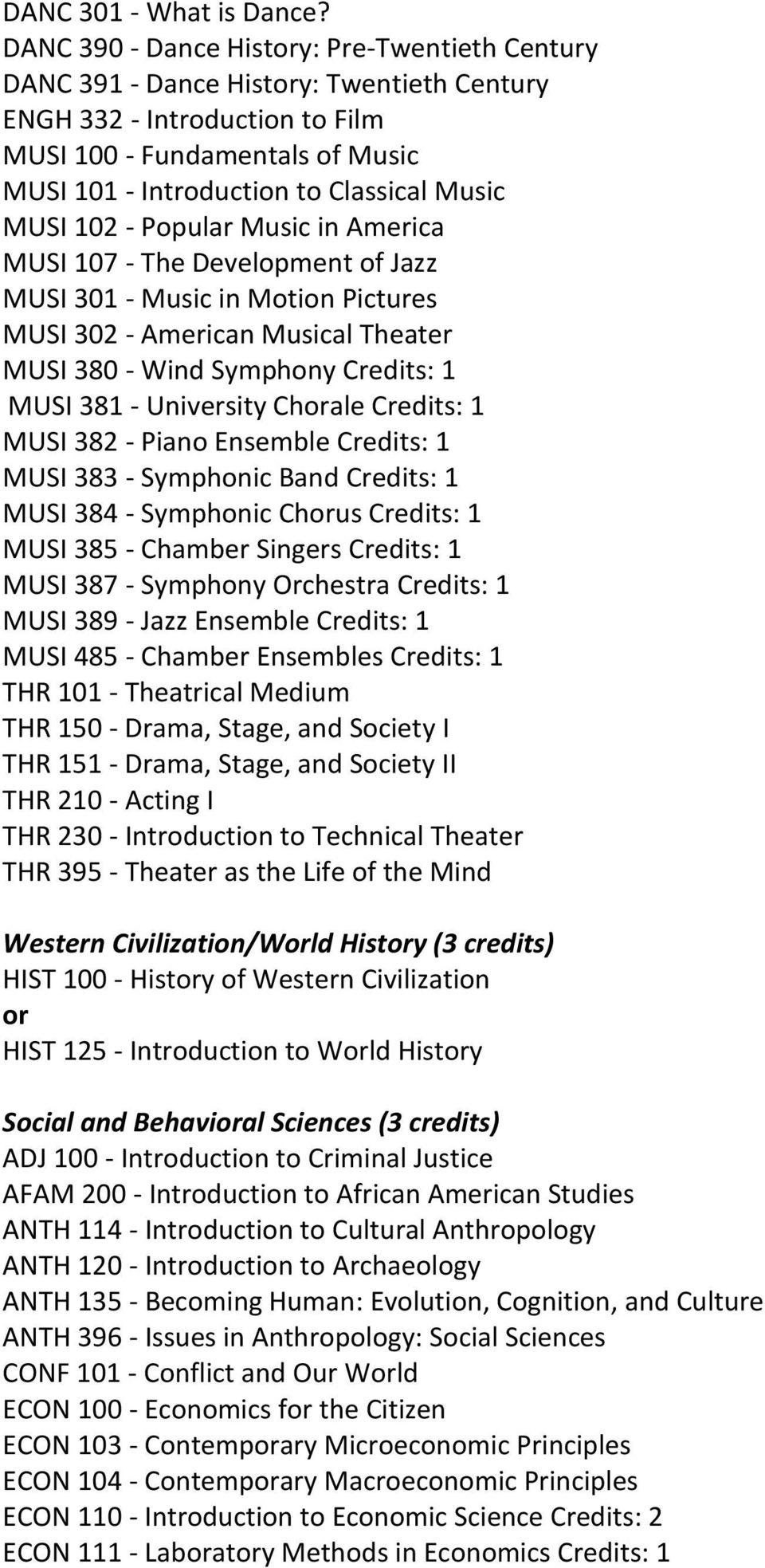 MUSI 102 - Popular Music in America MUSI 107 - The Development of Jazz MUSI 301 - Music in Motion Pictures MUSI 302 - American Musical Theater MUSI 380 - Wind Symphony Credits: 1 MUSI 381 -