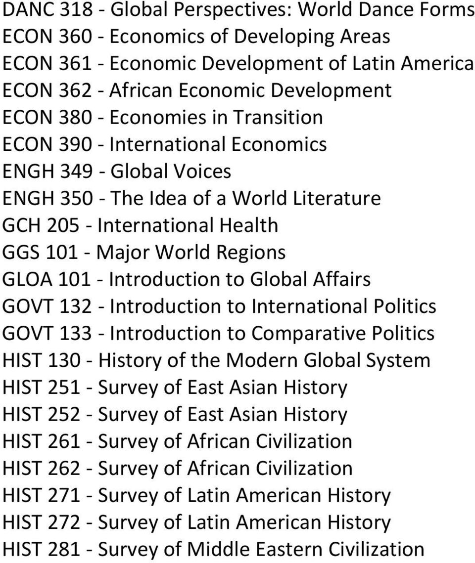 Introduction to Global Affairs GOVT 132 - Introduction to International Politics GOVT 133 - Introduction to Comparative Politics HIST 130 - History of the Modern Global System HIST 251 - Survey of