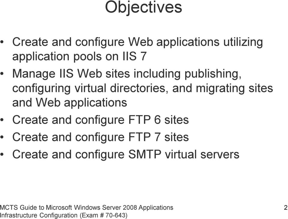 directories, and migrating sites and Web applications Create and configure