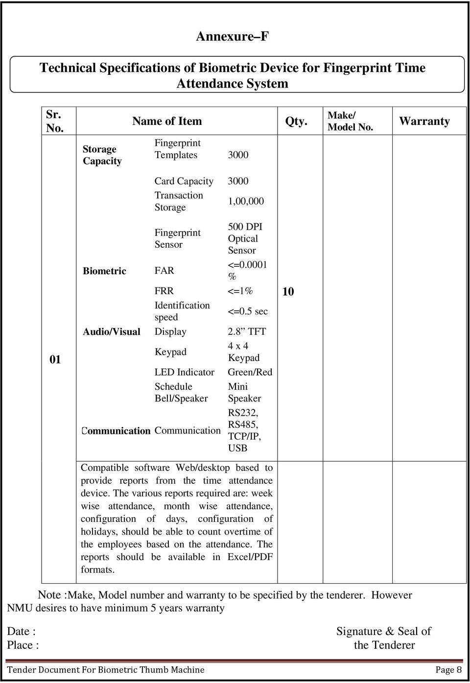TENDER DOCUMENTS FOR SUPPLY INSTALLATION AND COMMISSIONING OF
