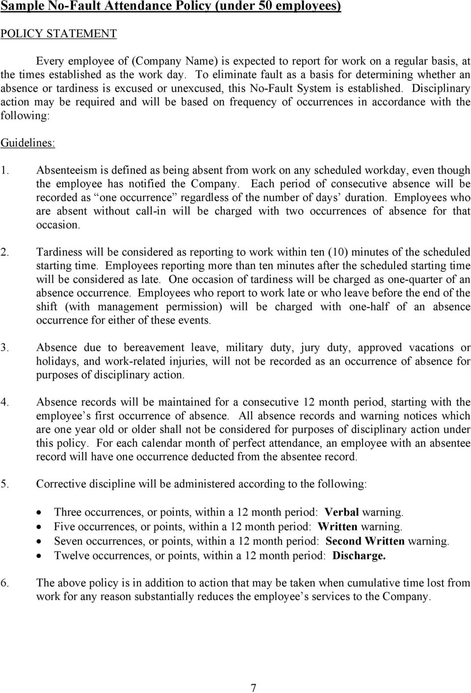 developing an attendance policy pdf