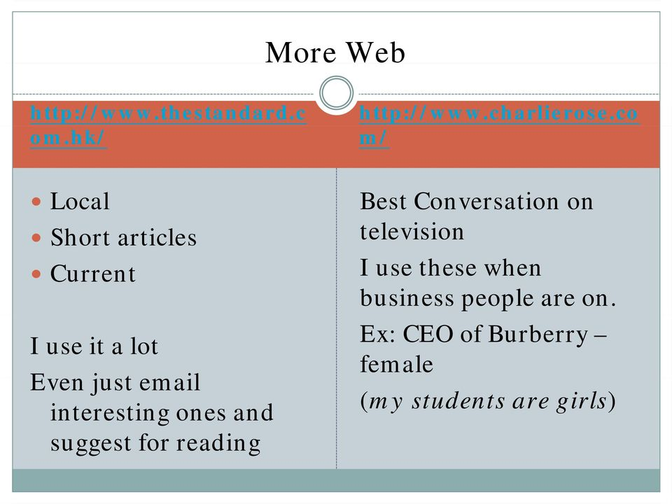 interesting ones and suggest for reading Best Conversation on television