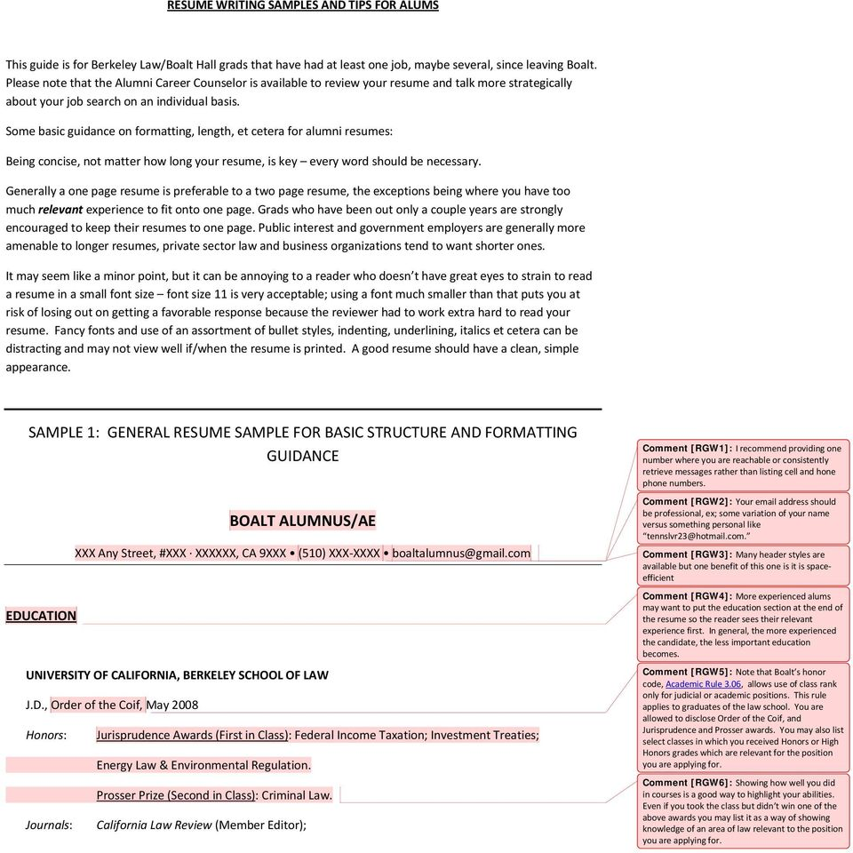 SAMPLE 1: GENERAL RESUME SAMPLE FOR BASIC STRUCTURE AND FORMATTING ...
