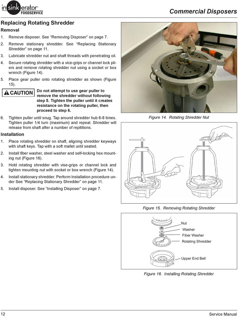 SERVICE MANUAL. Commercial Disposers SS-50 SS-75 SS-100 SS ... on